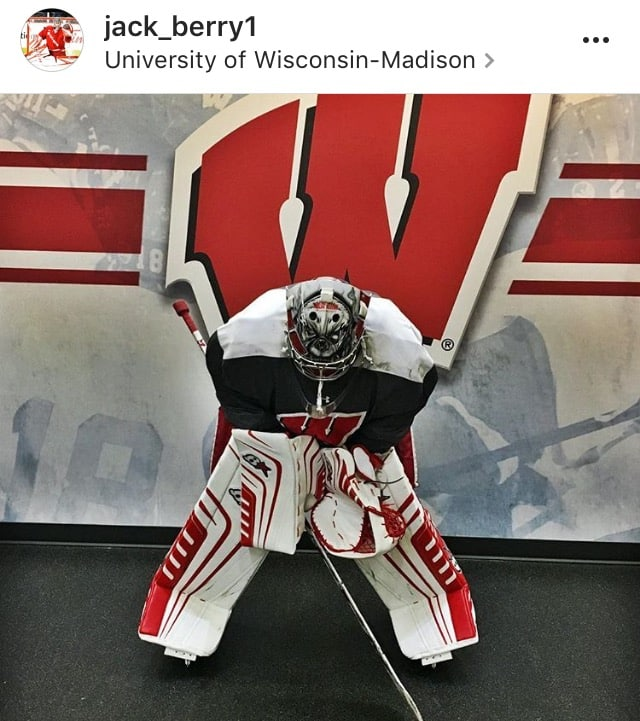 A photo of Wisconsin Badgers goalie Jack Berry wearing his new Brian's OPTIK pads